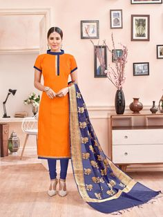 Orange simple chanderi cotton suit with contrast blue dupatta