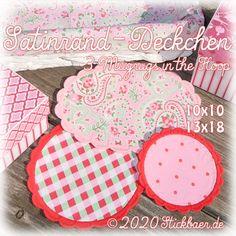 Der Stickbär | Satinrand-Deckchen 13x18 | Stickmuster mit Herz
