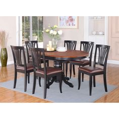 7-piece Oval Dining Table with Leaf and 6 Dining Chairs (Wood seat ...
