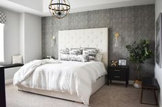 Inside the Modern Toronto Home Tour That Screams Chic Grown Up Bedroom, Modern Master Bedroom, Gray Bedroom, Minimalist House Design, Minimalist Home, Bedroom Makeover Before And After, White Headboard, Tall Headboard, Retro Bathrooms