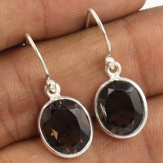 Elegant 925 Sterling Silver Jewelry Earrings Natural SMOKY QUARTZ Oval Gemstones #Unbranded #DropDangle