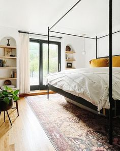 This beautiful bedroom, designed by 136home and Leo Cesareo, is the perfect place to spend a relaxing weekend. Get the look at theshadestore.com. Bedroom Windows, First Home, Beautiful Bedrooms, Get The Look, Window Treatments, Perfect Place, Bedroom Decor, Leo, Decorating Ideas
