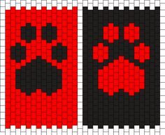Black on Red and Red on Black even count peyote Bead Pattern