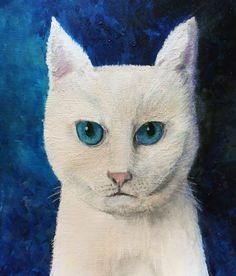 White Cat by elesewithvision in Painting Wildlife: Acrylic Mixed Media @ www.Craftsy.com