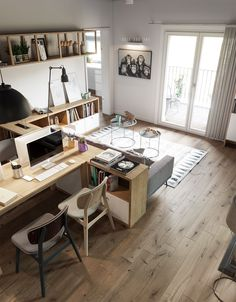 51 Home Workspace Designs With Ideas, Tips And Accessories To Help You Design Yo… – Home Office Design İdeas Workspace Design, Office Workspace, Office Interior Design, Office Interiors, Modern Interior, Office Designs, Studio Interior, Design Studio Office, Office Sofa