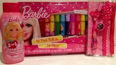 Barbie Beauty Set: Berry Pink 2-in-1 Shampoo & Conditioner, Barbie Toothbrush with Cap and Travel Case, & a 10-Pack Assorted Flavors Lip Gloss Barbie.