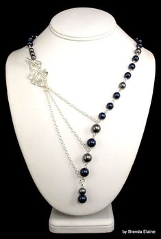 Asymmetrical Pearl and Chain Necklace with Leaf by byBrendaElaine, $36.00