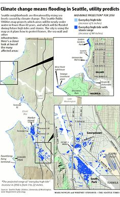 Seattle Public Utilities maps the local effects of global climate change and projects that by 2050, higher shorelines will inundate parts of Interbay, Georgetown, South Park, West Seattle, Golden Gardens and Harbor Island.