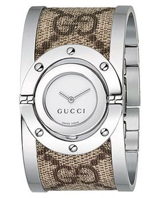 Gucci Watch, Women's Twirl Collection Stainless Steel and Fabric Bangle Bracelet YA112418 - Women's Watches - Jewelry & Watches - Macy's