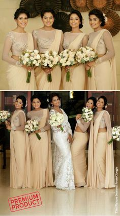 bridesmaids saree Cream Chiffon Bridesmaid Saree With Designer Blouse You are in the right place about matching Bridesmaid Outfit Here we offer you the most beautiful pictures about th Indian Wedding Bridesmaids, Indian Bridesmaid Dresses, Bridesmaid Saree, Bridesmaid Outfit, Brides And Bridesmaids, Bridal Dresses, Bridesmade Dresses, Bridesmaid Duties, Black Bridesmaids