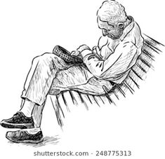 old man sleeping on a park bench Human Figure Sketches, Figure Sketching, Urban Sketching, Figure Drawing, Art Sketches, Art Drawings, Sleeping Drawing, Poses References, Pastel Drawing