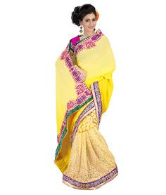 Saree Colour : Yellow Blouse Colour : Pink Collection : KSS102 Saree Fabric : Pallu Weightless + Brasso Blouse Fabric : Dhupian Saree Length : 5 Meter Blouse Length : 0.90 Cm Ptticoat : Not Available Stitching: Un_Stitched Work : Embroidered Style : New Arrival Saree
