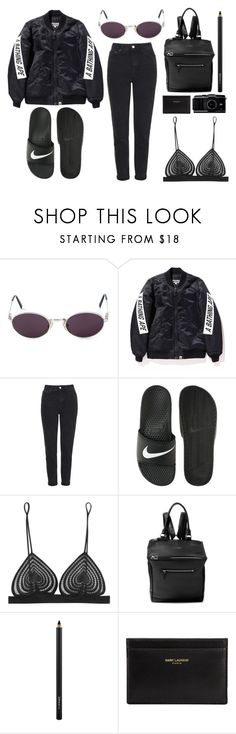 """""""///"""" by mimiih ❤ liked on Polyvore featuring Moschino, Topshop, NIKE, Christopher Kane, Givenchy, MAC Cosmetics and Yves Saint Laurent"""
