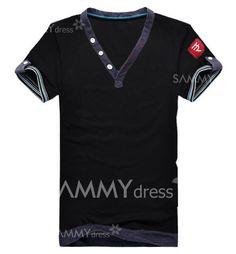 3a930b30244  8.89 Stylish V-Neck Buttons Embellished Purfled Design Short Sleeves Lycra  T-Shirt For Men