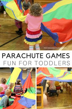 These parachute games are guaranteed to keep toddlers moving! They can focus on rhythm and listening skills while working together to move the parachute in different ways. A fun gross motor activity! Physical Activities For Toddlers, Motor Skills Activities, Movement Activities, Physical Education Games, Gross Motor Skills, Preschool Activities, Health Education, Toddler Gross Motor Activities, Outdoor Activities For Preschoolers