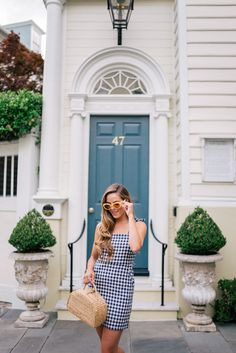 Gal Meets Glam Gingham Mini Dress Express dress c/o, Yellow sunglasses, Mansur Gavriel sandals and Sea & Grass bag