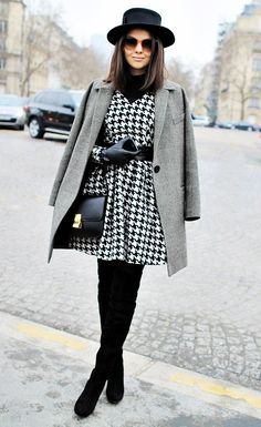 Make the jump from fall to winter a little easier with the help of a bold houndstooth print.