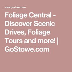 Foliage Central - Discover Scenic Drives, Foliage Tours and more! | GoStowe.com