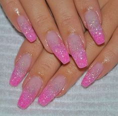 My beautiful pink nails :) on We Heart It fashion, girl, and glitter afbeelding<br> Pink Sparkle Nails, Clear Glitter Nails, Hot Pink Nails, Baby Pink Nails With Glitter, Acrylic Nail Designs Glitter, Pink Acrylic Nails, Pink Nail Designs, Cute Nails, Pretty Nails