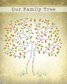 4 Generation 16x20 Family Tree--great gift for parents and grandparents