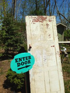 Small Holdings Farm - One of many vintage chippy paint doors that have been acquired by the shop in Aquebogue, NY
