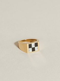 Chess Inlay Signet (Onyx & Mother of Pearl) | J.Hannah Jewelry Rectangle Shape, Chess, Black Onyx, Solid Gold, Gold Rings, Rings For Men, Fine Jewelry, Pearls, Sterling Silver