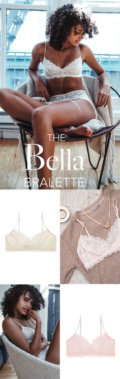 """Simply perfect! Delicate, comfortable, supportive, sexy, etc...  I want every single color!""  - Anne F.  Our Bella Bralette botanical lace. Match it with our Luxe Boyshort for the perfect set."