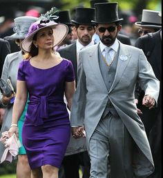 Royal Ascot, Day 1 2013 -  The course is celebrating its 300th year.  - Dubai's Sheikh Mohammed Bin Rashid Al Maktoum and HRH Princess Haya Bint Al Hussein walk together on the first day of the annual Royal Ascot racve horse meeting at Ascot, England. (AP)