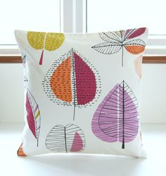 large leaves decorative pillow cover raspberry by LittleJoobieBoo
