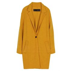 Yellow Trendy Womens Warm Winter Tweed Coat (€69) ❤ liked on Polyvore featuring outerwear, coats, jackets, coats & jackets, yellow, tweed coat, yellow coat and tweed wool coat