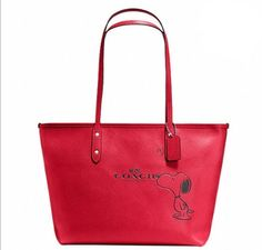 COACH X PEANUTS SNOOPY- SOLD OUT -LIMITED -HEART CITY ZIP TOTE BAG PURSE RED NEW #Coach #ShoulderBag