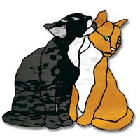 Kissin' Kittens Stained Glass