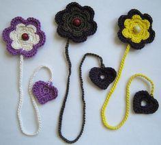 RESERVIERT für Sabine  3 gehäkelte Lesezeichen Blume & Herz  Farben: - gelb & violett - lila & weiß - violett & taupe  Benötigst Du eine a...