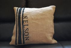 Striped Burlap Personalized Name Pillow by Shabbyburlap on Etsy, $22.00