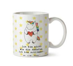 Tasse Einhorn Herz aus Keramik  Weiß - Das Original von Mr. & Mrs. Panda.  Eine wunderschöne Keramiktasse aus dem Hause Mr. & Mrs. Panda, liebevoll verziert mit handentworfenen Sprüchen, Motiven und Zeichnungen. Unsere Tassen sind immer ein besonders liebevolles und einzigartiges Geschenk. Jede Tasse wird von Mrs. Panda entworfen und in liebevoller Arbeit in unserer Manufaktur in Norddeutschland gefertigt.    Über unser Motiv Einhorn Herz  Ein wunderschönes Einhorn aus der Mr. & Mrs. Panda…