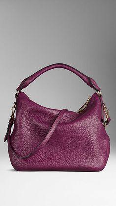 Small Signature Grain Leather Hobo Bag | Burberry