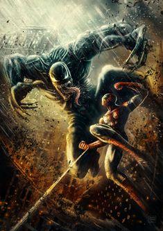 """ Venom vs Spiderman Fan art by Patricio Clarey Marvel Comics, Heros Comics, Comics Anime, Marvel Venom, Marvel Vs, Fun Comics, Marvel Heroes, Captain Marvel, All Spiderman"