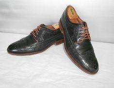 6ef42df454 Men s Johnston   Murphy 1850 Black Leather Dress Wingtip Oxfords Size 9 D   fashion