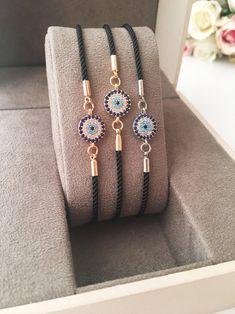 Evil Eye Jewelry, Evil Eye Bracelet, Evil Eye Charm, Rose Gold Jewelry, Adjustable Bracelet, Sparkle, Etsy, Charmed, Beads
