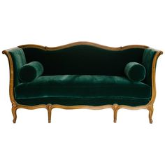 19th Century Louis XV Style Sultanes Sofa in a Dark Emerald Mohair | From a unique collection of antique and modern sofas at https://www.1stdibs.com/furniture/seating/sofas/