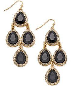 INC International Concepts Gold-Tone Jet Black Teardrop Chandelier Fish Hook Earrings, Only at Macy's