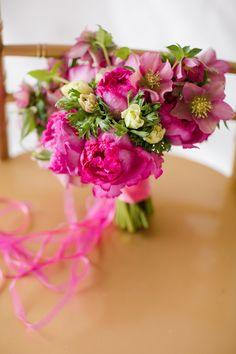 hot pink wedding bouquet // Floral Design by Janie Medley Flora Design of The Bride's Cafe, photo by Katelyn James Photography