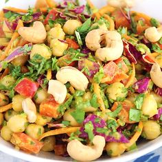 Beautiful plant-based Chopped Thai Chickpea Salad with a super flavorful curry peanut dressing. Healthy, easy to make and a great way to get your veggies in! #vegetarian #vegetarianrecipe #mealprepping #saladrecipe Vegetarian Recipes Videos, Lentil Recipes, Thai Recipes, Veggie Recipes, Whole Food Recipes, Cooking Recipes, Healthy Recipes, Mexican Quinoa Salad, Chicken Pasta Salad Recipes