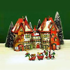 "Department 56: Products - ""North Pole Dolls & Santa's Bear Works"" - View Lighted Buildings"