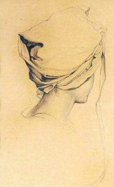 Claudio Bravo. Cabeza con paño, 1957, lápiz sobre papel.
