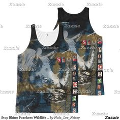 Stop Rhino Poachers Wildlife Conservation Art All-Over Print Tank Top