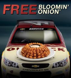 "Kevin Harvick placed in the top so you know what that means… Head on over to Outback Steakhouse today only), where you can get a FREE Bloomin' Onion when you mention ""… Bloomin Onion, Restaurant Deals, Outback Steakhouse, Health And Fitness Tips, Sunny Days, Coupons, Delish, My Favorite Things, Free"