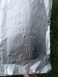 Foil can make hard-to-read gravestones legible