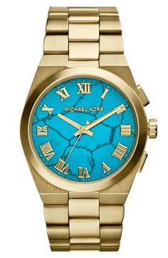 Michael Kors 'Channing' Turquoise Dial Bracelet Watch, 38mm available at #Nordstrom