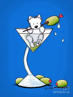 Westie Olive Martini Drawing